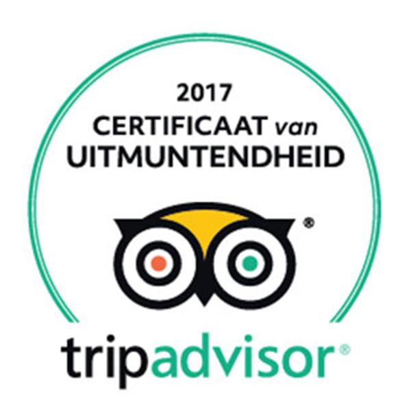 Restaurant met TripAdvisor Certificaat van Uitmuntendheid Logo